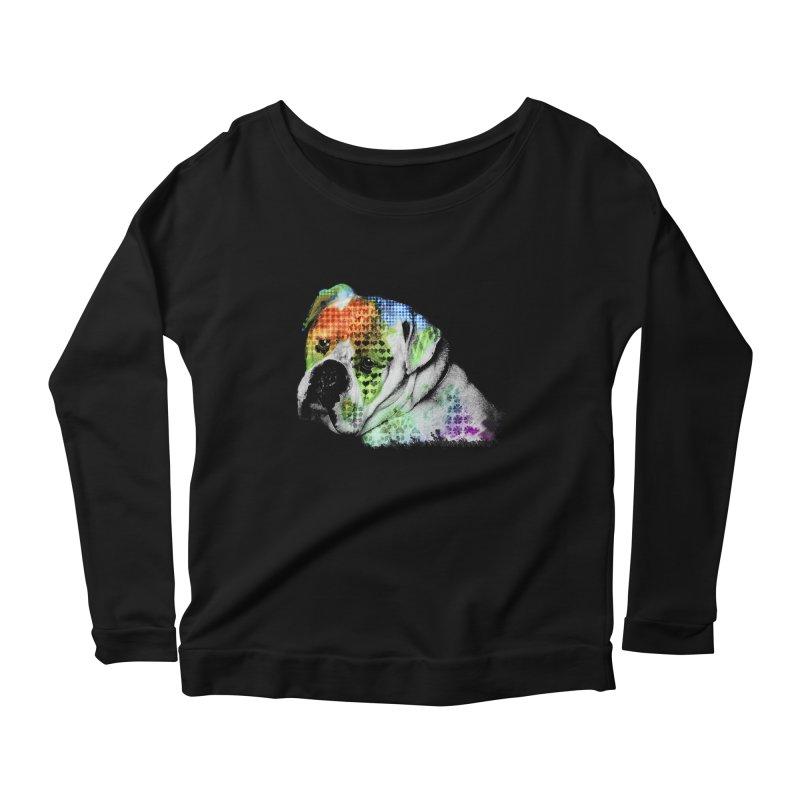 Bulldog Women's Longsleeve Scoopneck  by Mirabelle Digital Art shop