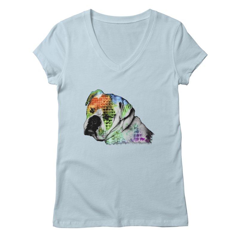Bulldog Women's V-Neck by Mirabelle Digital Art shop