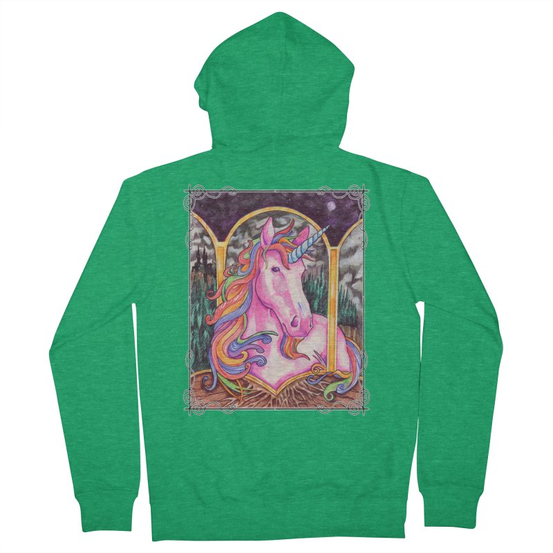 Unicorn Men's French Terry Zip-Up Hoody by Ben Mirabelli