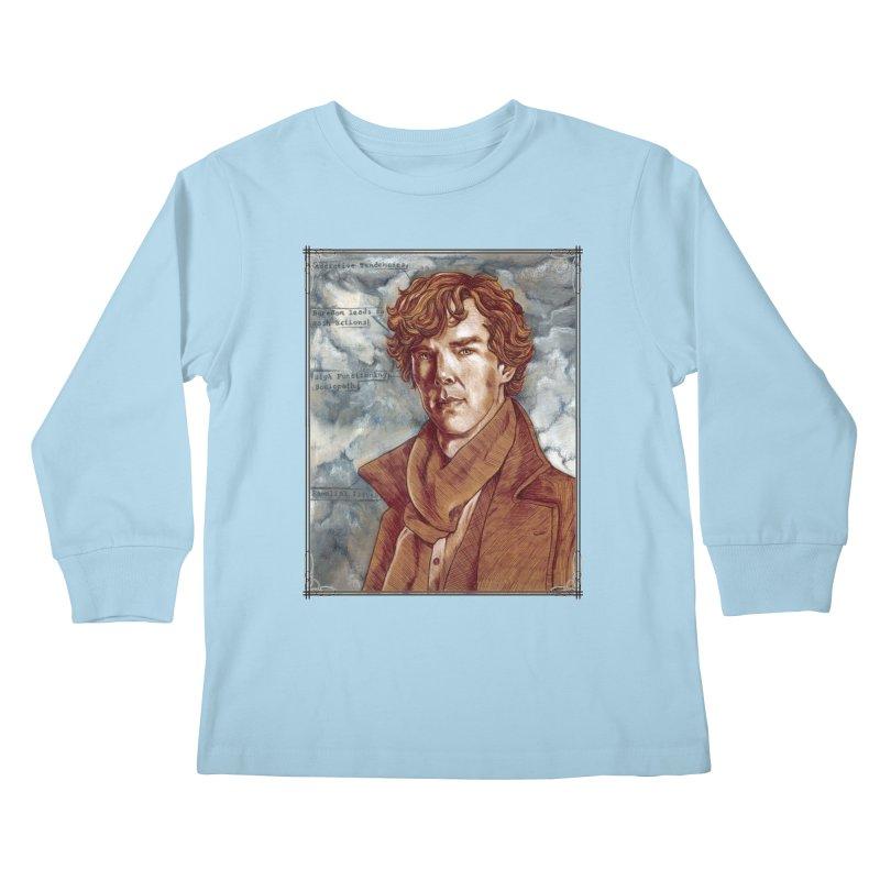 Sherlock Kids Longsleeve T-Shirt by Ben Mirabelli