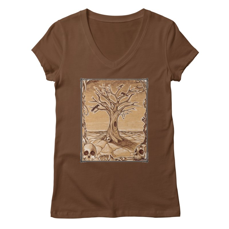 Elemental Tree of Death Women's Regular V-Neck by Ben Mirabelli
