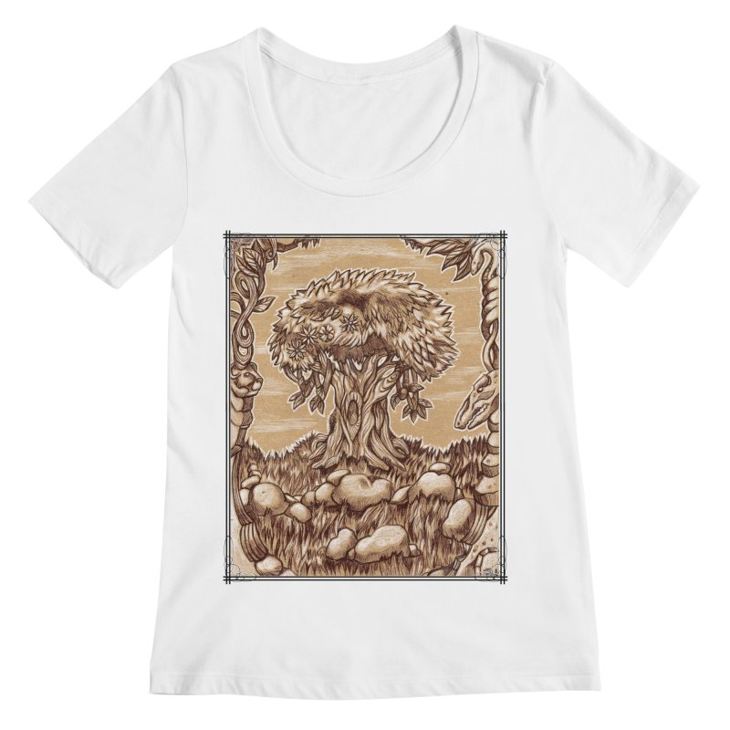 Earth Tree Women's Regular Scoop Neck by Ben Mirabelli