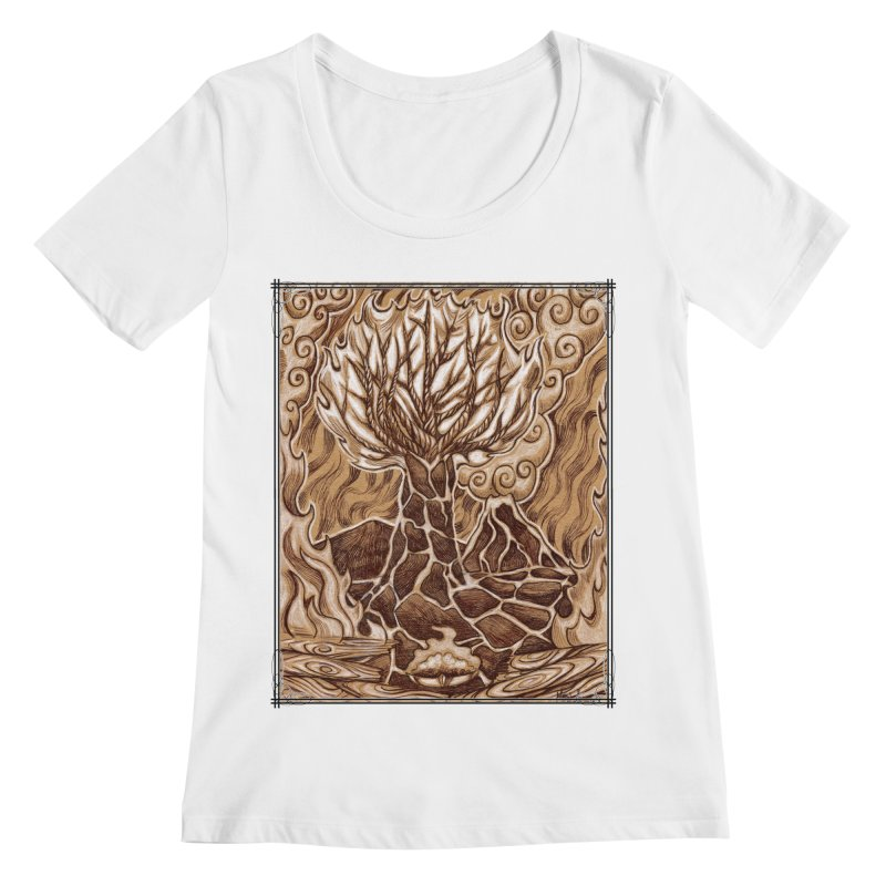 Fire Tree Women's Regular Scoop Neck by Ben Mirabelli