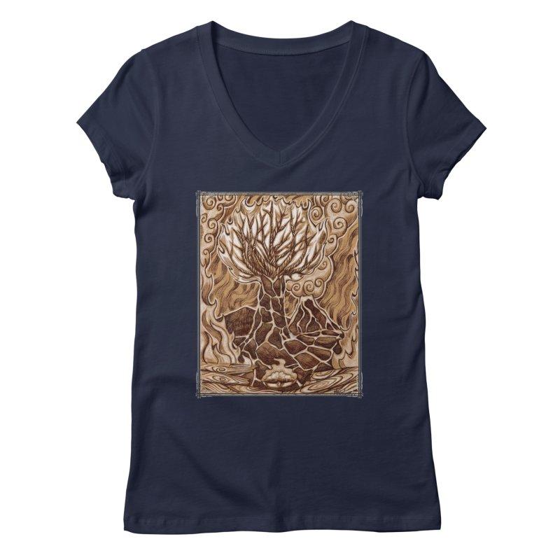 Fire Tree Women's Regular V-Neck by Ben Mirabelli
