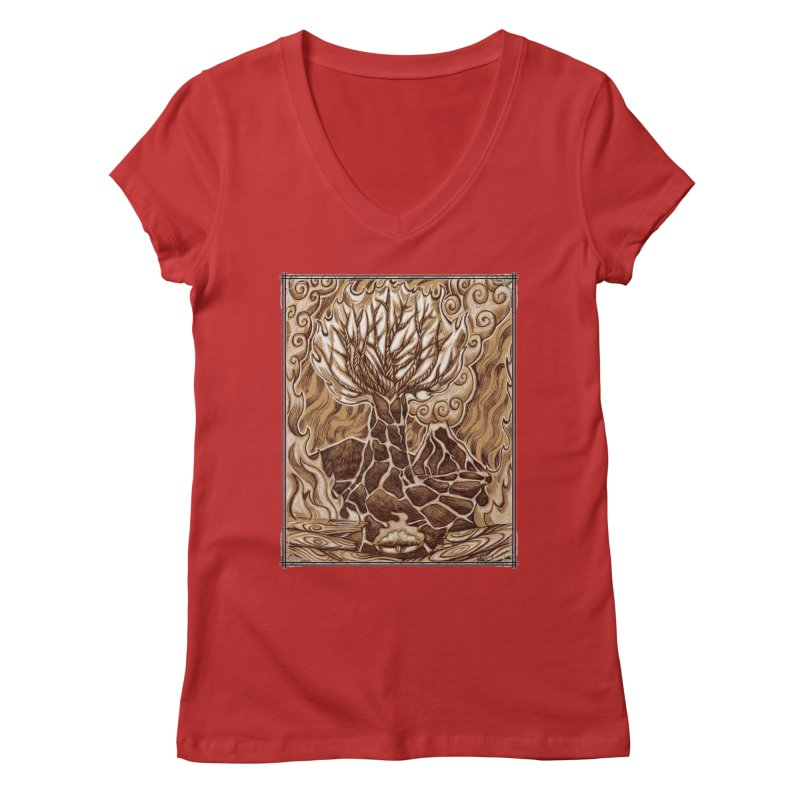 Fire Tree Women's Regular V-Neck by Ben Mirabelli