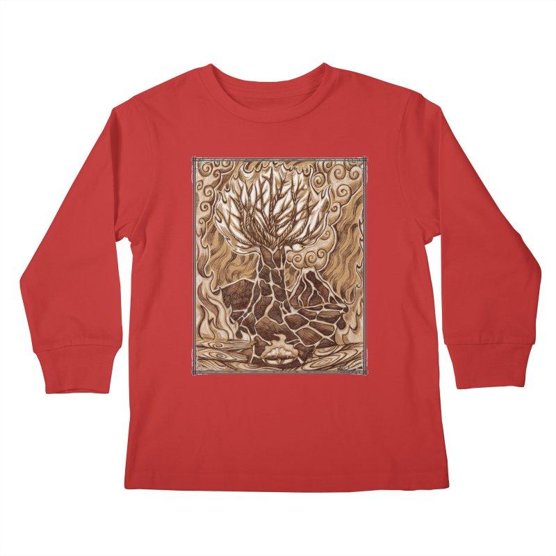 Fire Tree Kids Longsleeve T-Shirt by Ben Mirabelli