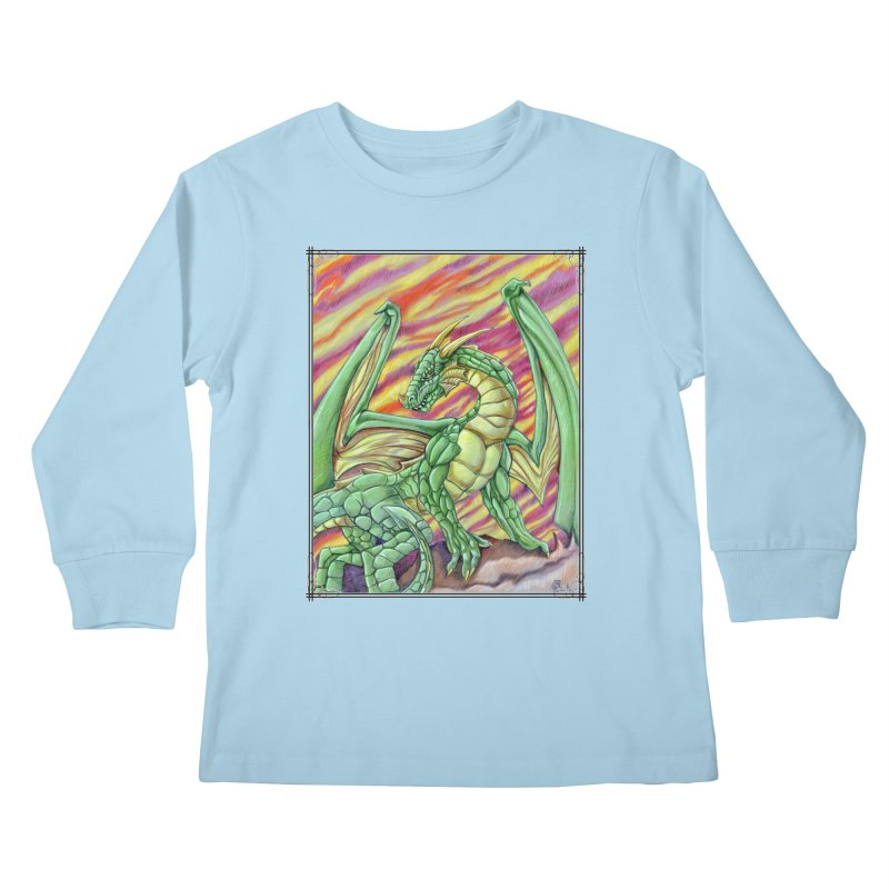 Yulth, The Emerald Apocalypse Kids Longsleeve T-Shirt by Ben Mirabelli