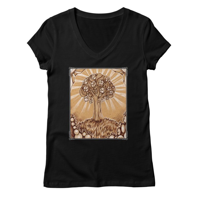 Tree of Life Women's Regular V-Neck by Ben Mirabelli