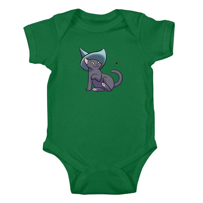 Witch Cat Kids Baby Bodysuit by The Art of Mirana Reveier