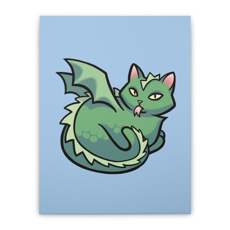 Dragon Cat Home Stretched Canvas by mirana's Artist Shop