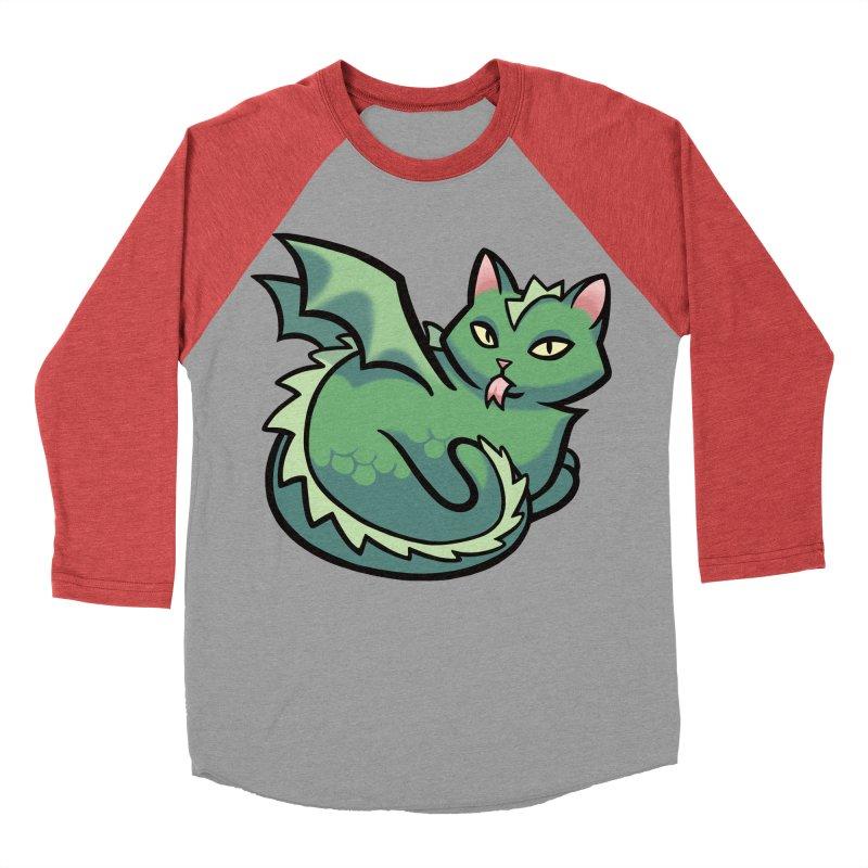 Dragon Cat Men's Baseball Triblend T-Shirt by mirana's Artist Shop