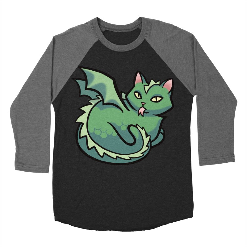 Dragon Cat Men's Baseball Triblend T-Shirt by mirana's Artist Shop