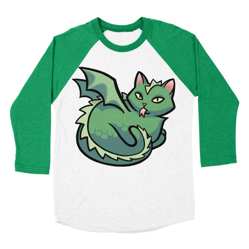 Dragon Cat Men's Baseball Triblend Longsleeve T-Shirt by mirana's Artist Shop