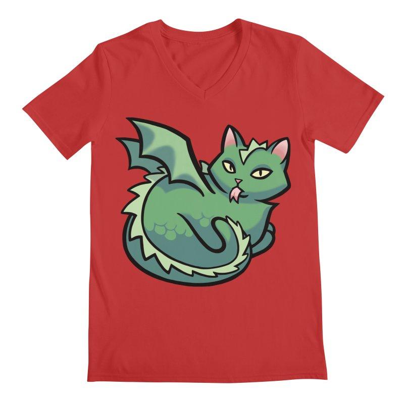 Dragon Cat Men's V-Neck by mirana's Artist Shop