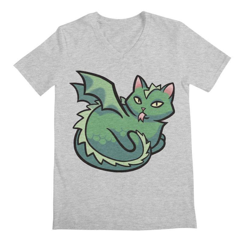 Dragon Cat Men's Regular V-Neck by mirana's Artist Shop
