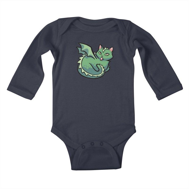 Dragon Cat Kids Baby Longsleeve Bodysuit by The Art of Mirana Reveier