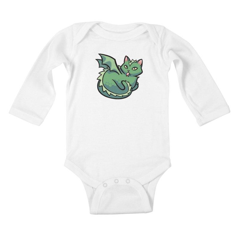 Dragon Cat Kids Baby Longsleeve Bodysuit by mirana's Artist Shop