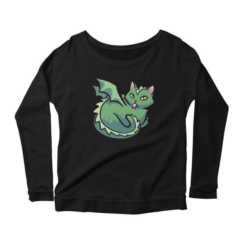 Dragon Cat Women's Scoop Neck Longsleeve T-Shirt by mirana's Artist Shop