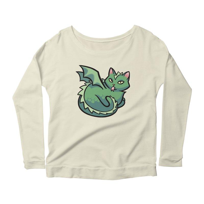 Dragon Cat Women's Longsleeve Scoopneck  by mirana's Artist Shop