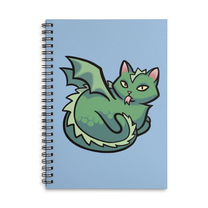 Dragon Cat Accessories Lined Spiral Notebook by mirana's Artist Shop