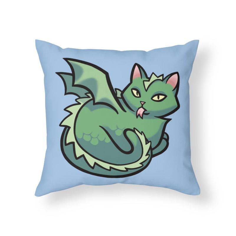 Dragon Cat Home Throw Pillow by mirana's Artist Shop