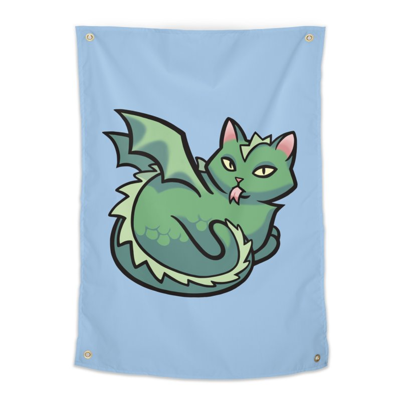 Dragon Cat Home Tapestry by The Art of Mirana Reveier