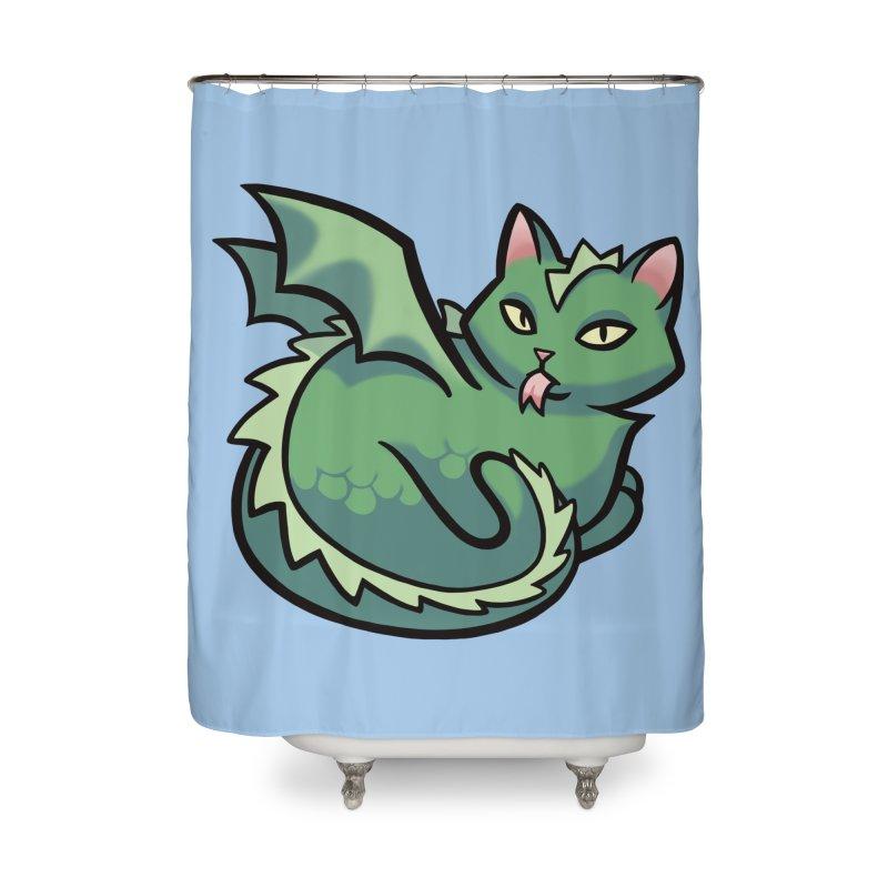 Dragon Cat Home Shower Curtain by The Art of Mirana Reveier