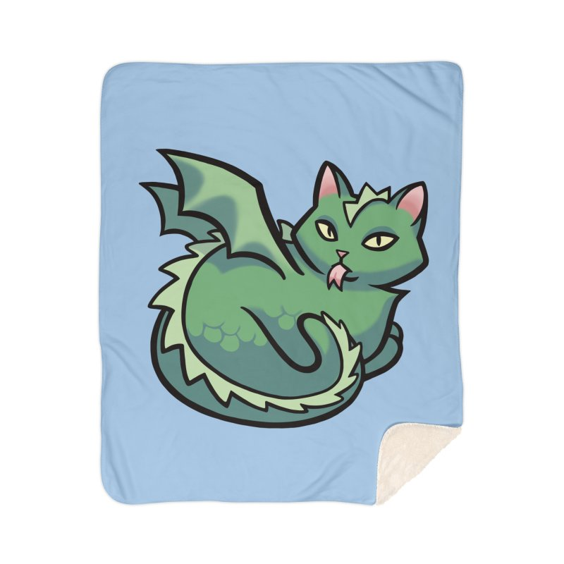 Dragon Cat Home Blanket by The Art of Mirana Reveier