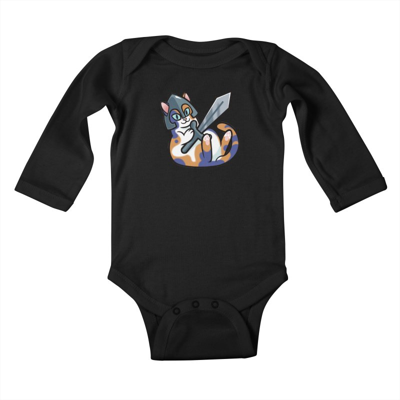 Sword Cat Kids Baby Longsleeve Bodysuit by mirana's Artist Shop