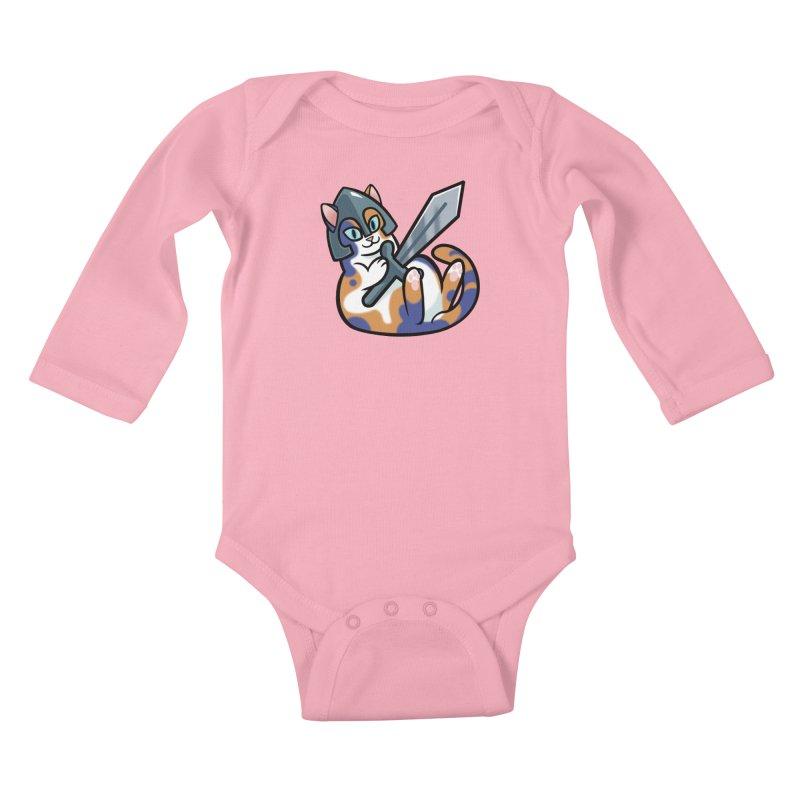 Sword Cat Kids Baby Longsleeve Bodysuit by mirana's Artist Shop