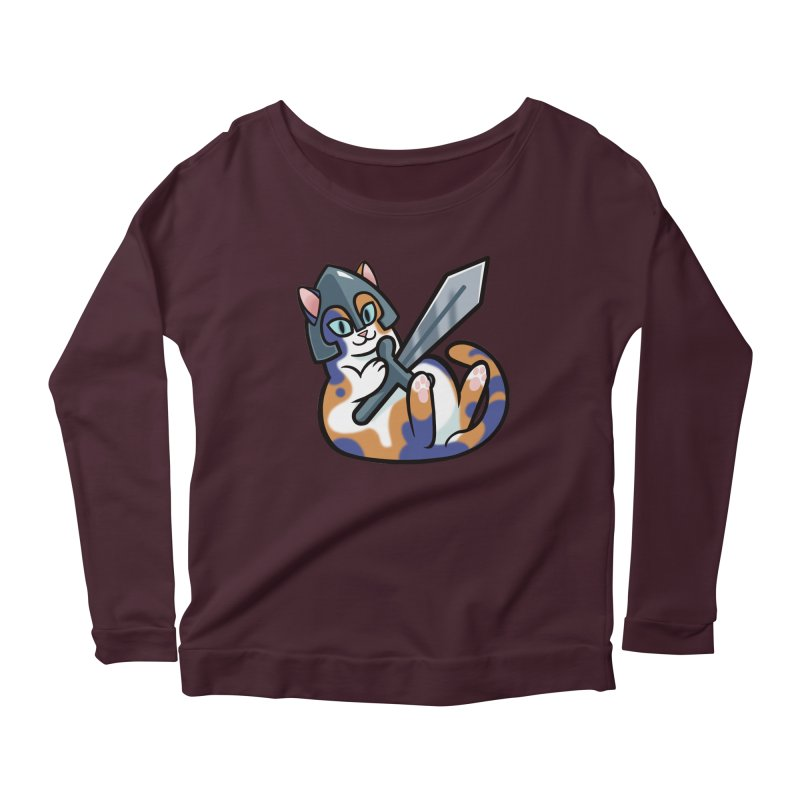 Sword Cat Women's Longsleeve Scoopneck  by mirana's Artist Shop