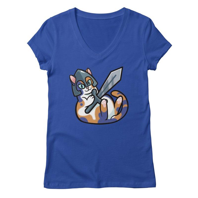 Sword Cat Women's Regular V-Neck by mirana's Artist Shop