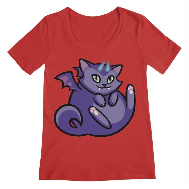 Demon Cat Women's Regular Scoop Neck by mirana's Artist Shop