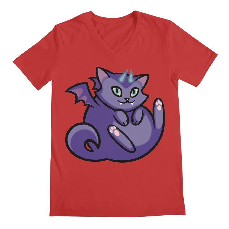 Demon Cat Men's Regular V-Neck by mirana's Artist Shop