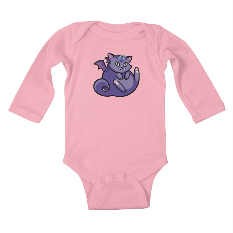 Demon Cat Kids Baby Longsleeve Bodysuit by mirana's Artist Shop