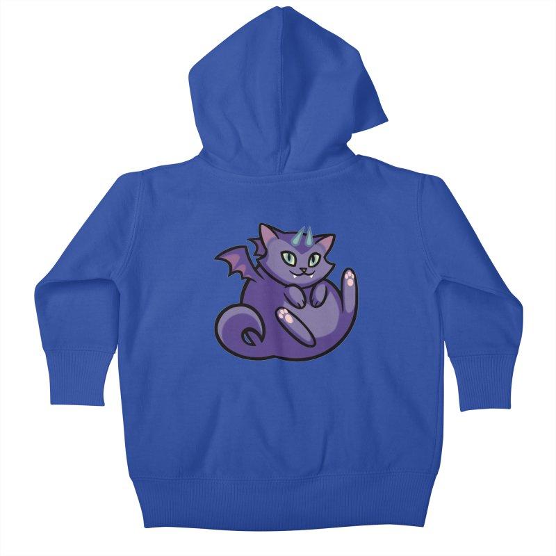 Demon Cat Kids Baby Zip-Up Hoody by mirana's Artist Shop
