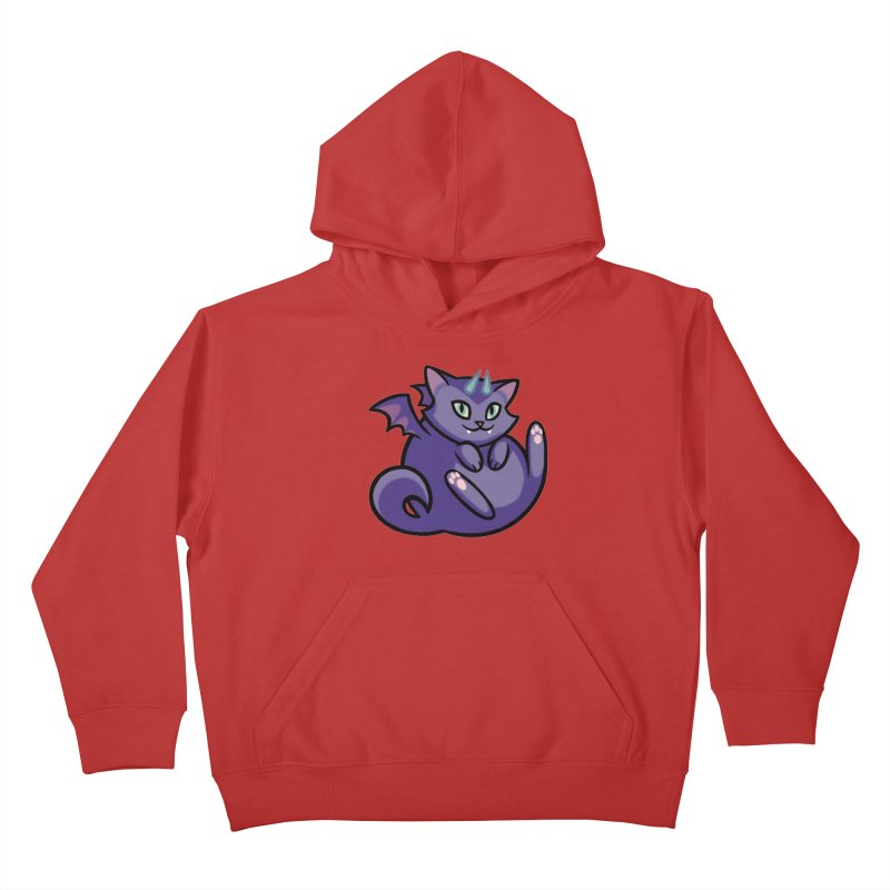 Demon Cat Kids Pullover Hoody by mirana's Artist Shop