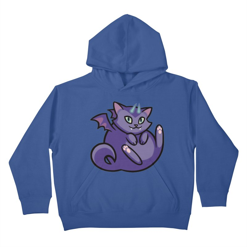 Demon Cat Kids Pullover Hoody by mirana's Artist Shop