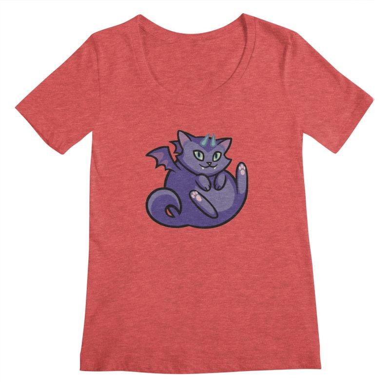 Demon Cat Women's Scoopneck by mirana's Artist Shop