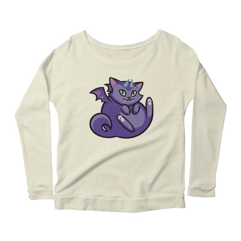 Demon Cat Women's Longsleeve Scoopneck  by mirana's Artist Shop