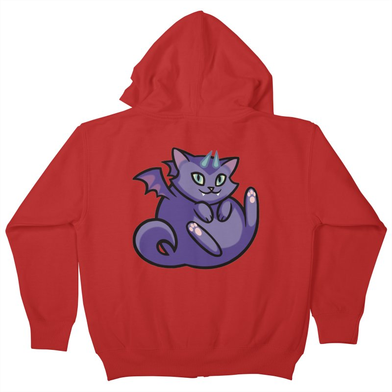 Demon Cat Kids Zip-Up Hoody by mirana's Artist Shop