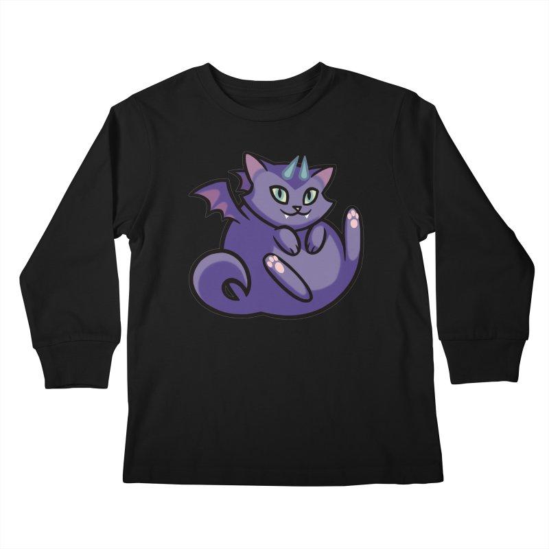 Demon Cat Kids Longsleeve T-Shirt by mirana's Artist Shop