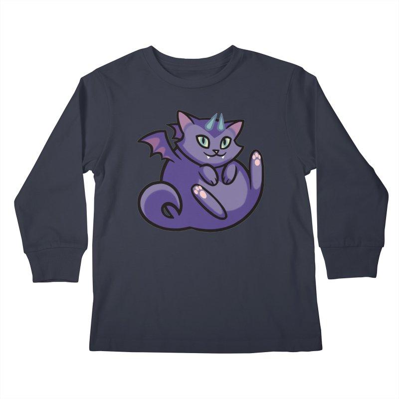 Demon Cat Kids Longsleeve T-Shirt by The Art of Mirana Reveier
