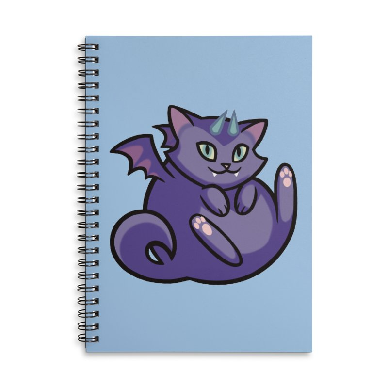 Demon Cat Accessories Lined Spiral Notebook by mirana's Artist Shop