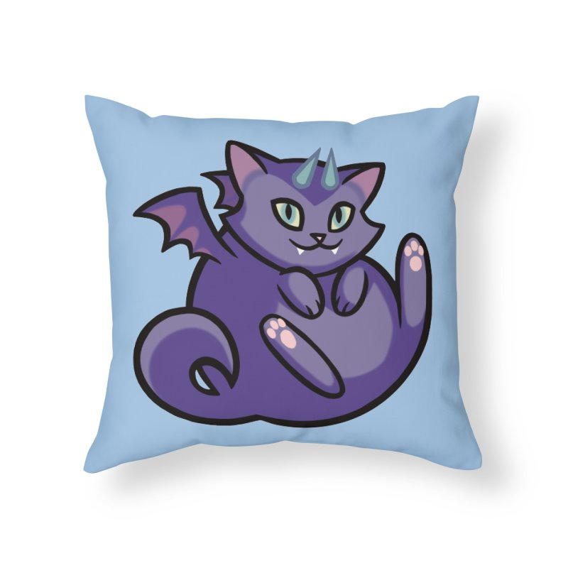 Demon Cat Home Throw Pillow by mirana's Artist Shop