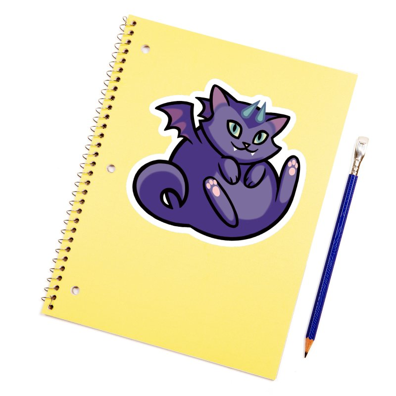 Demon Cat Accessories Sticker by The Art of Mirana Reveier