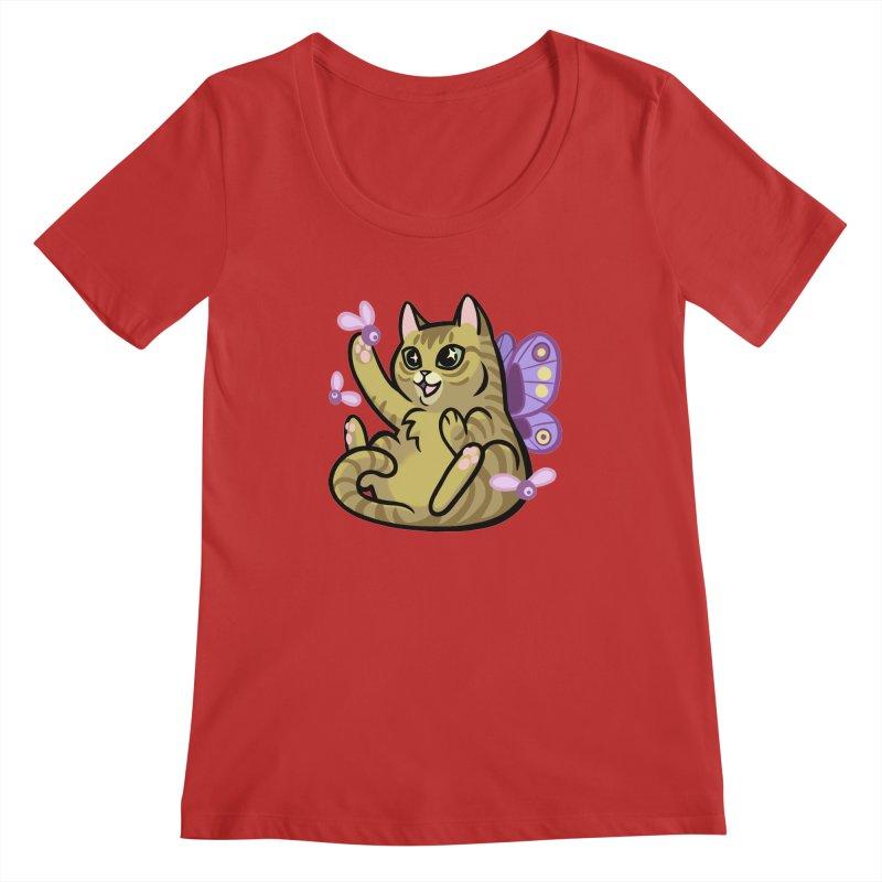 Fairy Cat Women's Regular Scoop Neck by mirana's Artist Shop