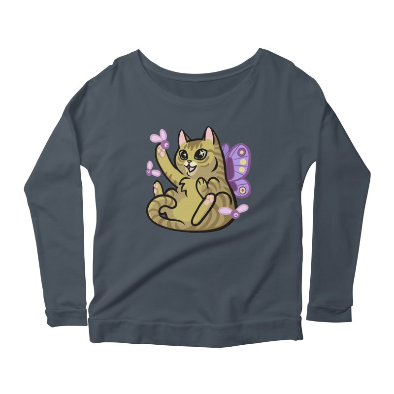 Fairy Cat Women's Scoop Neck Longsleeve T-Shirt by mirana's Artist Shop