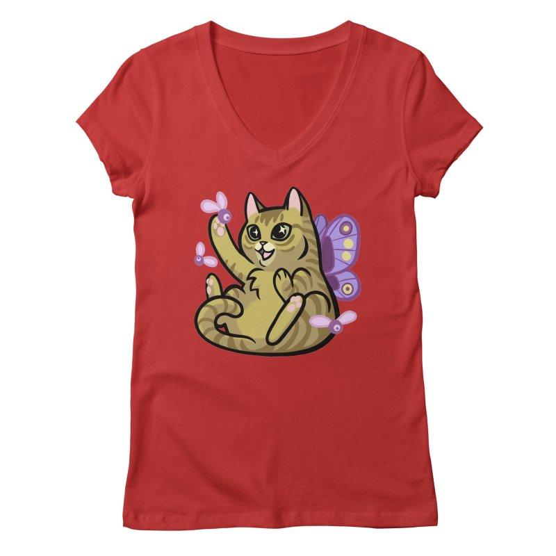 Fairy Cat Women's Regular V-Neck by mirana's Artist Shop