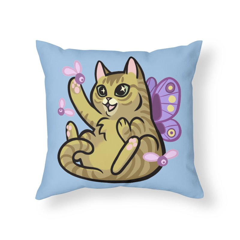 Fairy Cat Home Throw Pillow by mirana's Artist Shop